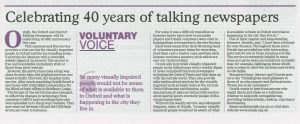 Oxford Times : Voluntary Voice - Celebrating 40 years of talking newspapers